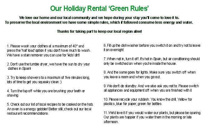 Holiday rental guest rules
