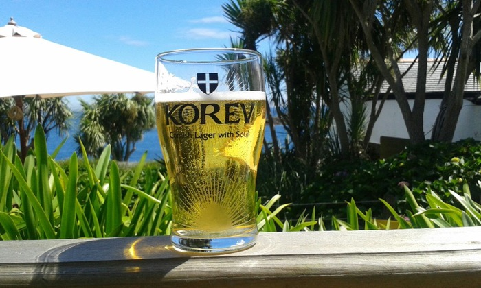 Traditional Korev Cornish beer enjoyed along with great views from our garden.