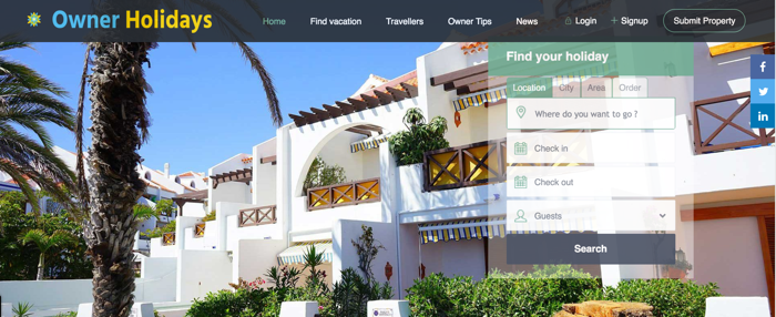 OwnerHolidays listing website for holiday rentals