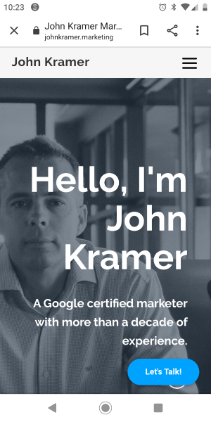 John Kramer Marketing - above the folder homepage